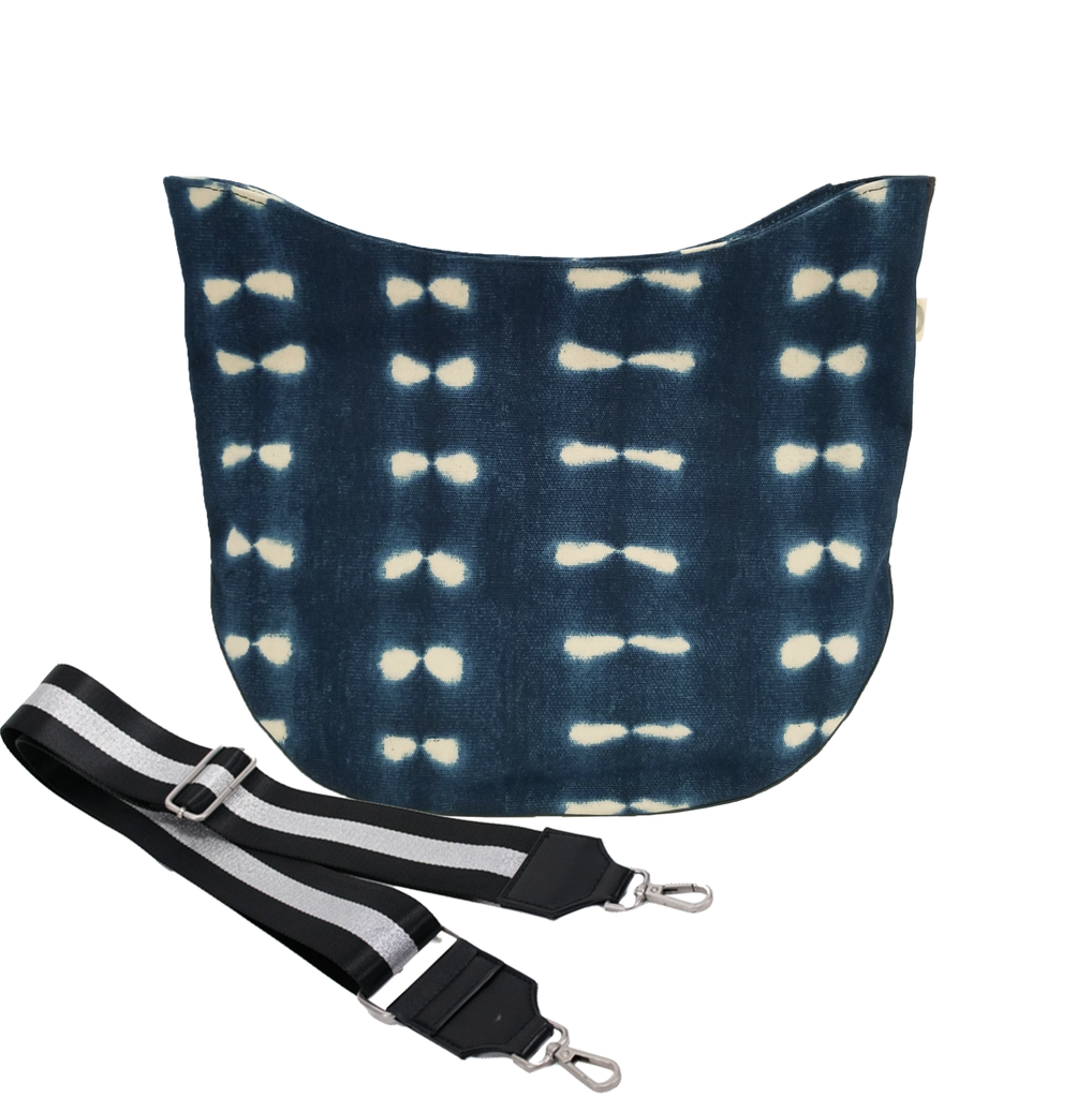 Monogram Stripe City Bag: Blue Shibori