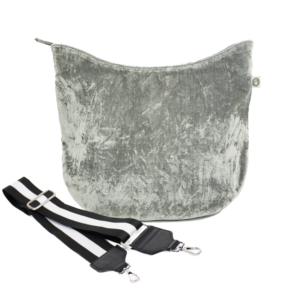 Monogram Stripe City Bag: Grey Velvet