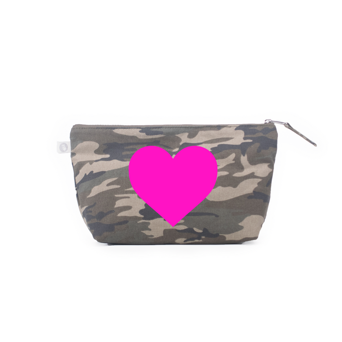 Heart: Clutch Bag Green Camo with Neon Pink
