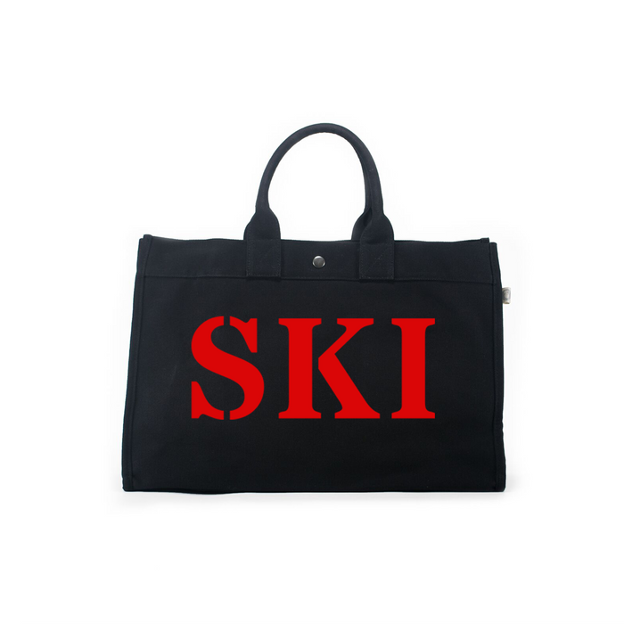 SKI Collection: East-West Bag Black with Matte Red SKI