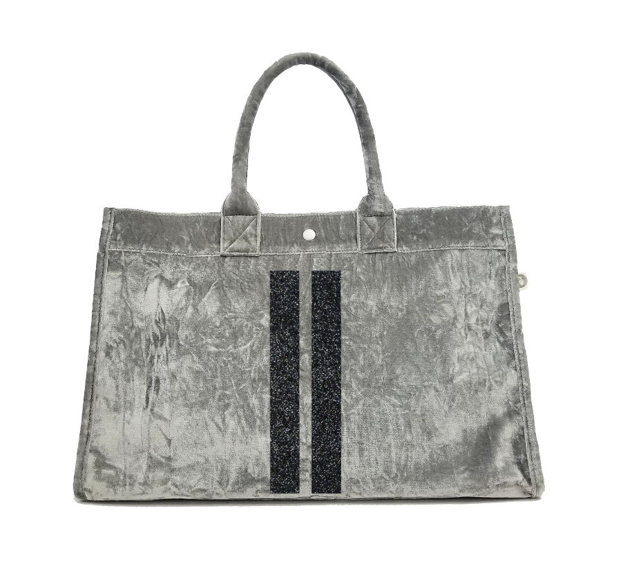 East West Bag: Grey Crushed Velvet