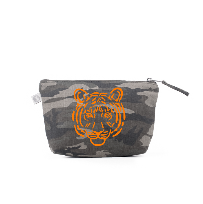 Makeup Bag: Green Camo with Orange Tiger