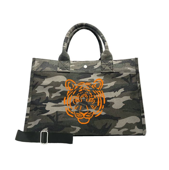 Green Camo Midi East West Crossbody: Orange Matte Tiger  FEATURED on TODAY.COM