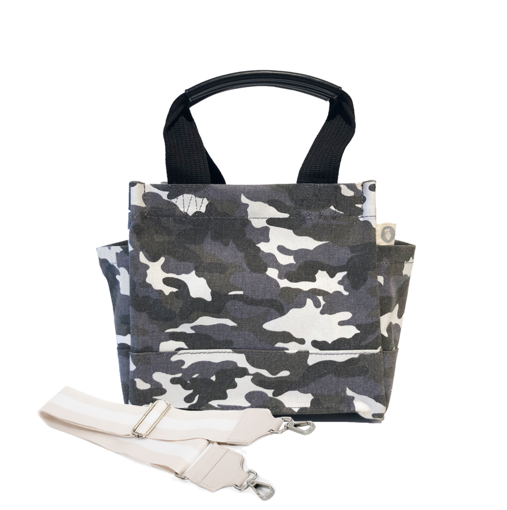 Mini Luxe North South Bag: Grey Camouflage