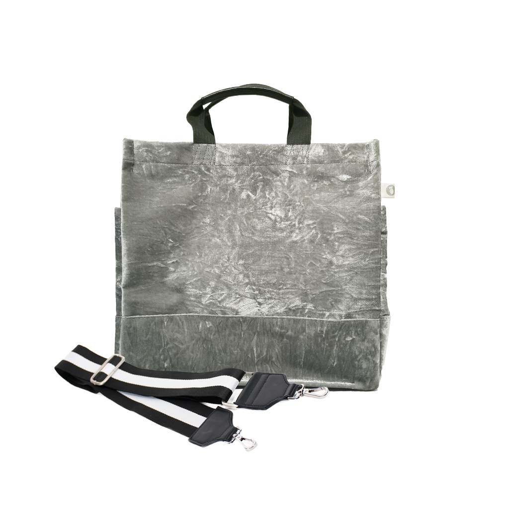 SPLIT LETTER MONOGRAM GREY CRUSHED VELVET NORTH SOUTH BAG WITH STRIPE STRAP