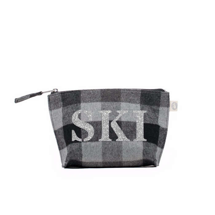 SKI Collection: Makeup Bag Grey Flannel Plaid with Silver SKI