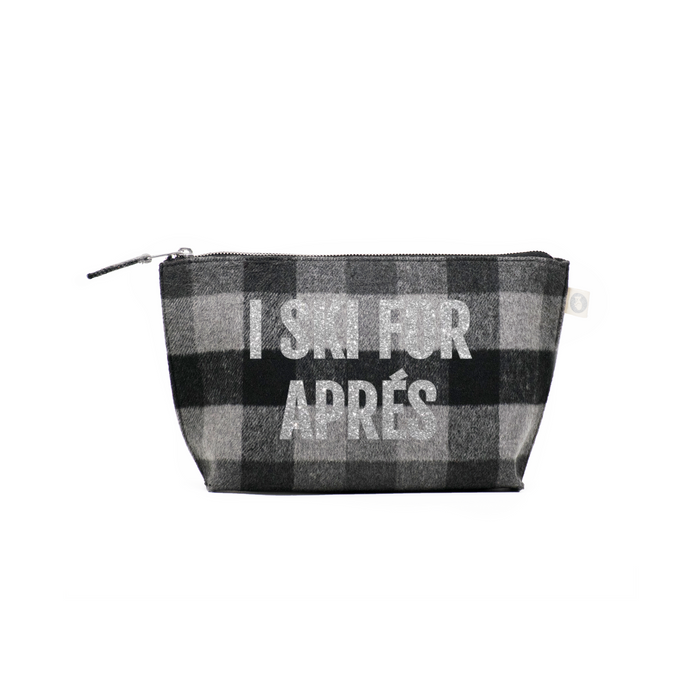 SKI Collection: Clutch Bag Grey Plaid Flannel with Silver I Ski for Apres