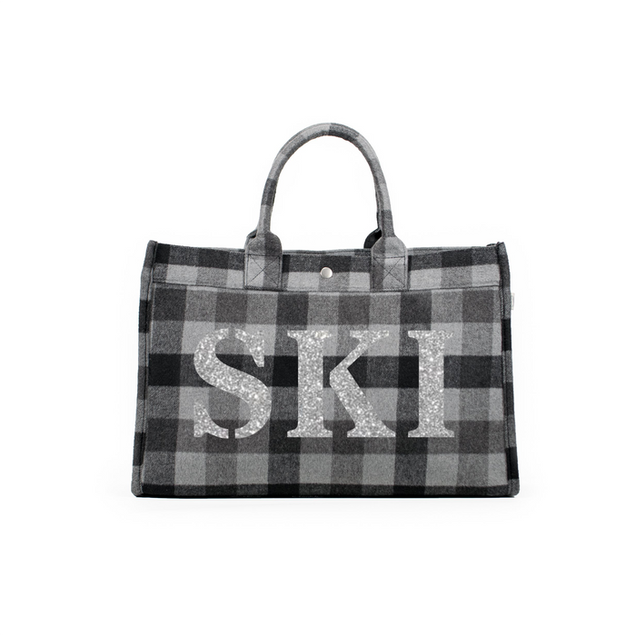 SKI Collection: East West Bag Grey Flannel Plaid with Silver SKI