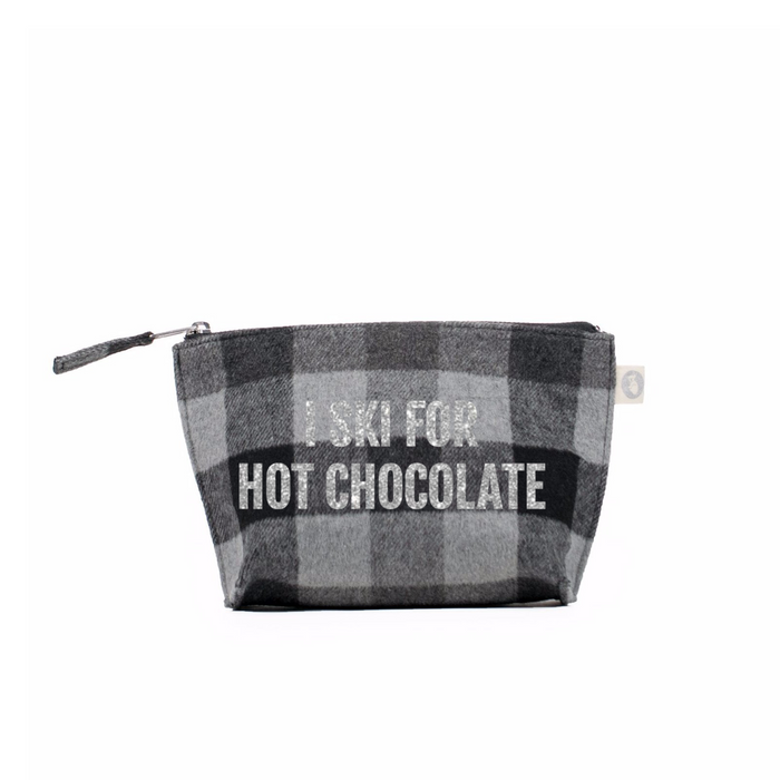 SKI Collection: Makeup Bag Grey Flannel Plaid with Silver I Ski for Hot Chocolate