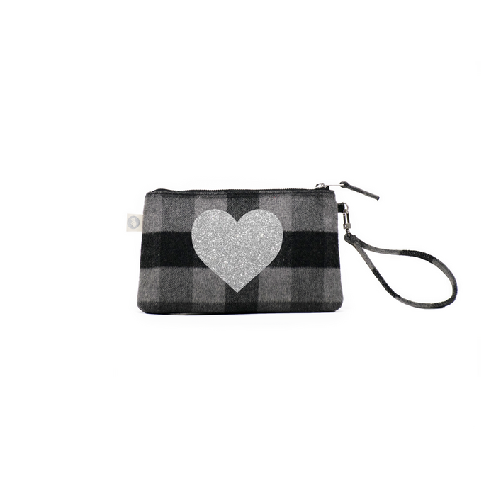 Love Collection: Grey Plaid Flannel Mini Luxe Clutch with Silver Heart
