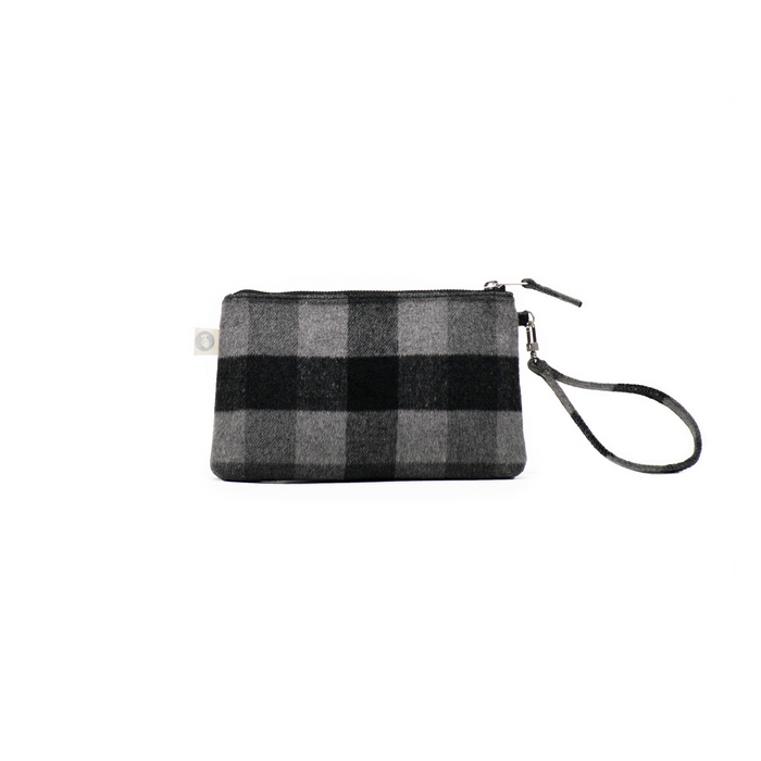 A Gift For You! Grey Plaid Flannel Mini Luxe Clutch