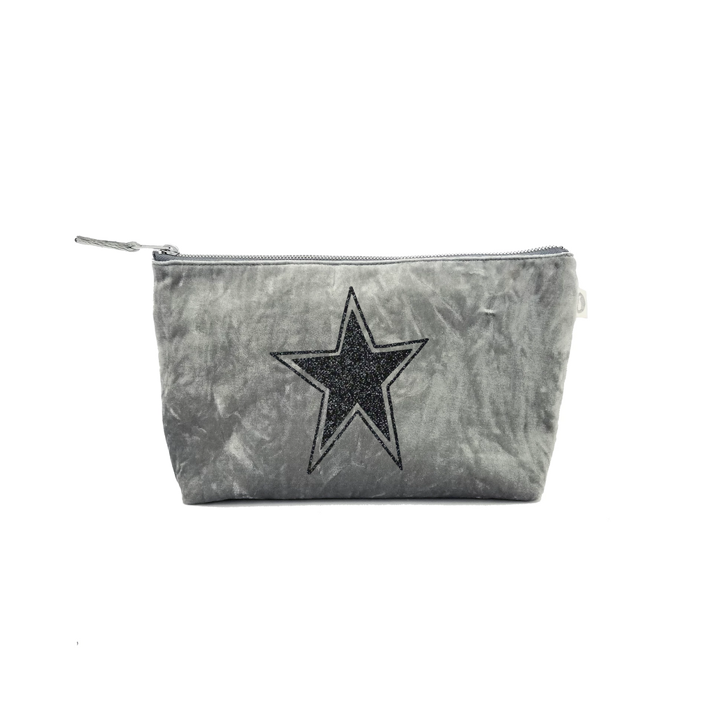 Clutch Bag: Grey Crushed Velvet