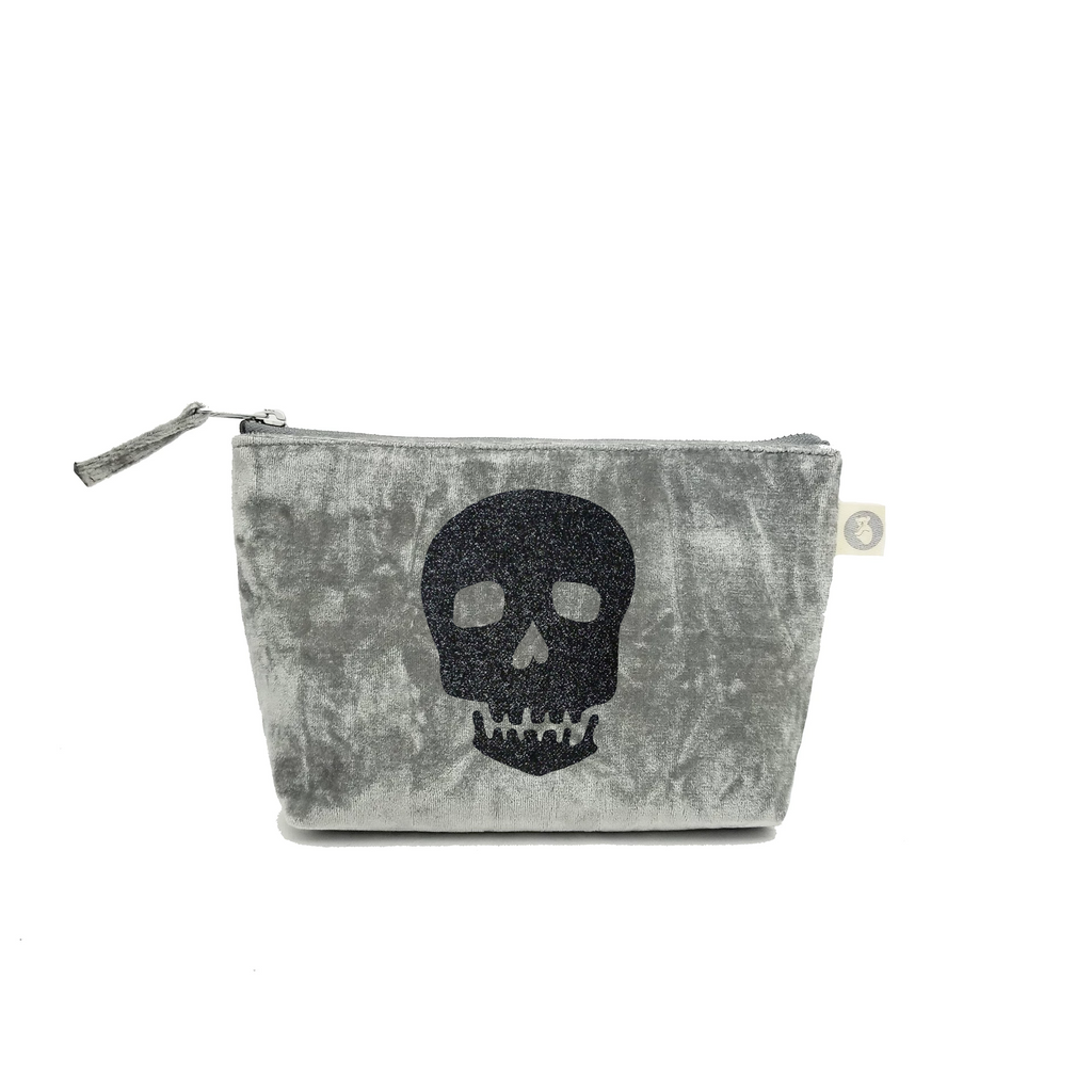 Makeup Bag: Grey Crushed Velvet