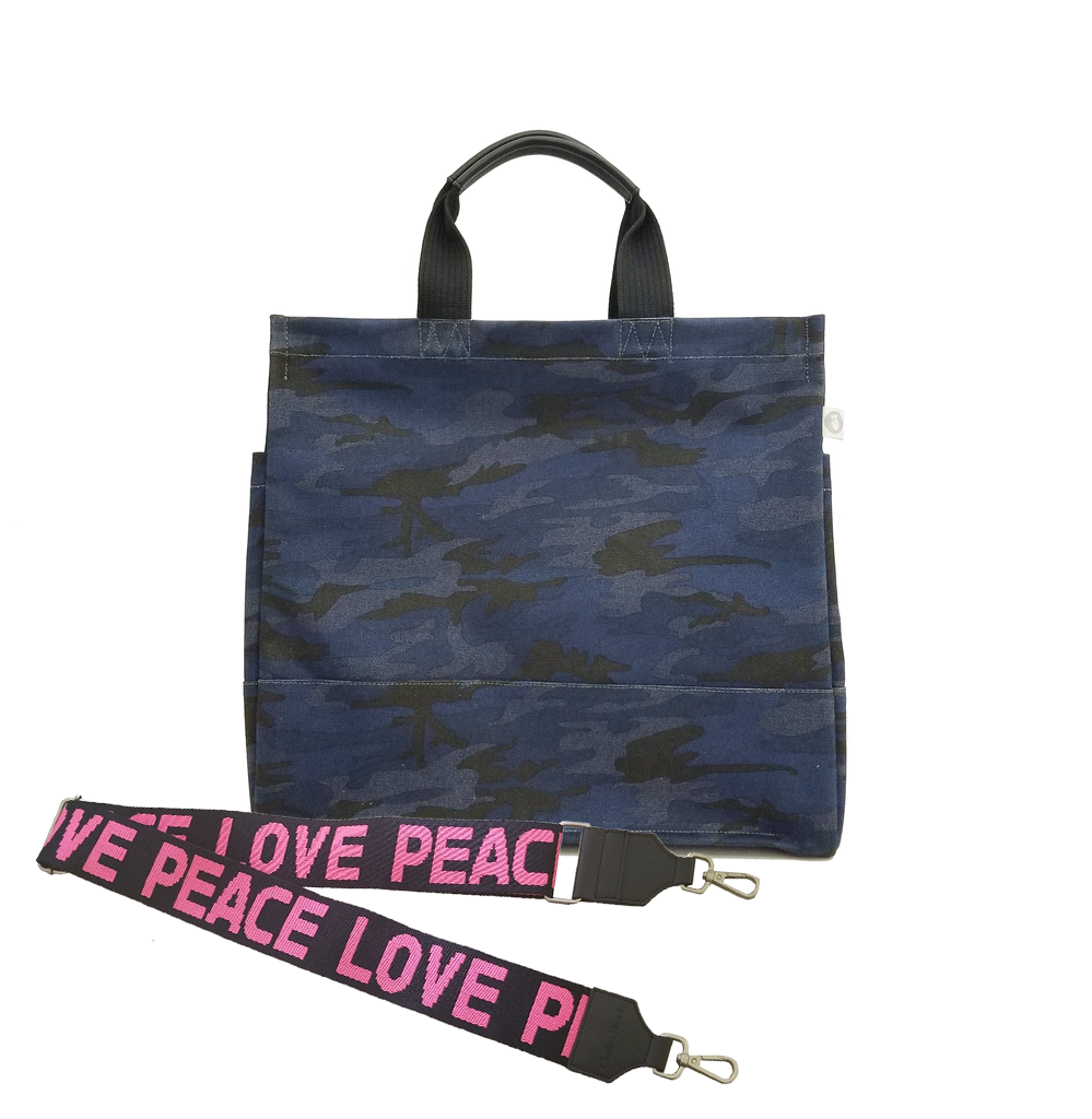 Split Letter Monogram Dark Blue Camo North South Bag with Stripe Strap