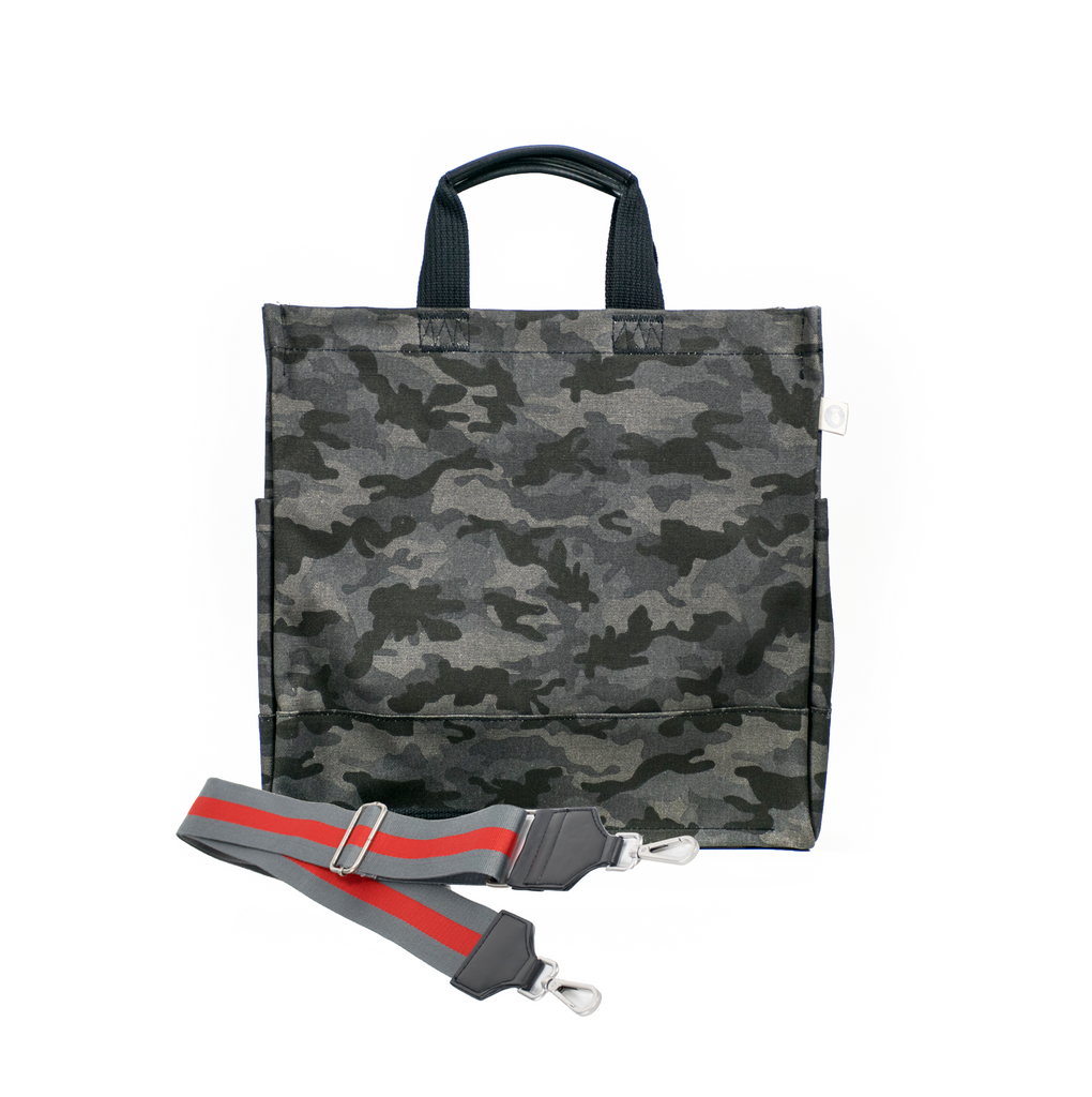 Color Stripes: Black Camo North South Bag with Stripe Strap