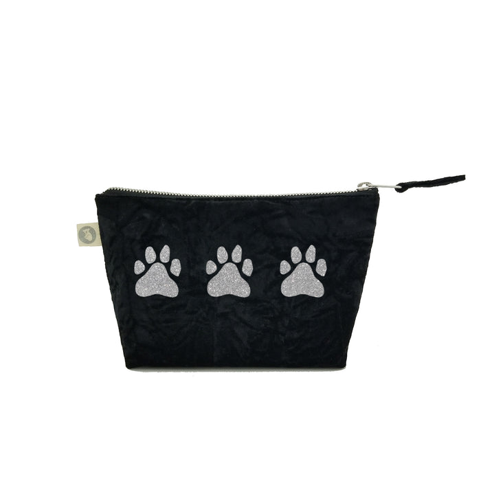 Makeup Bag: Black Crushed Velvet with Silver Glitter Three Paws