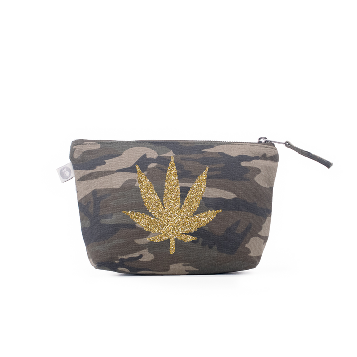 Makeup Bag: Green Camo with Gold Glitter Pot Leaf