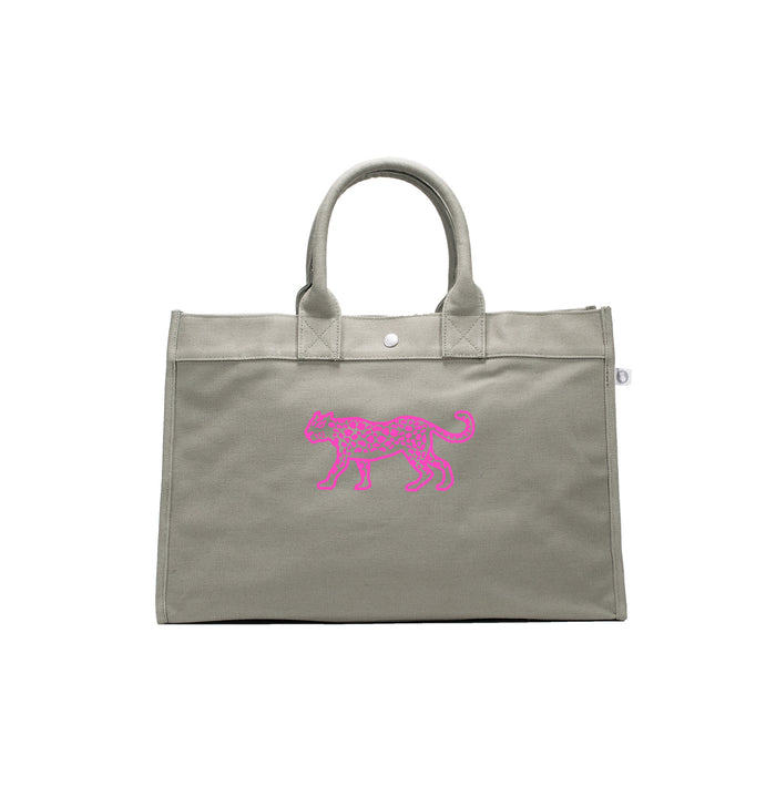 East West Bag: Olive with Neon Pink Matte Leopard