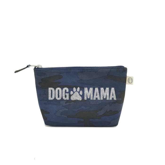 Dog Mama:  Dark Blue Camouflage with Silver