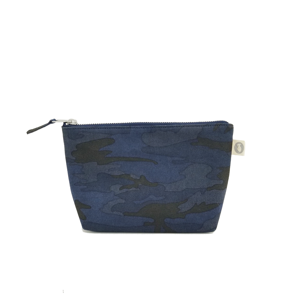 Makeup Bag: Dark Blue Camouflage