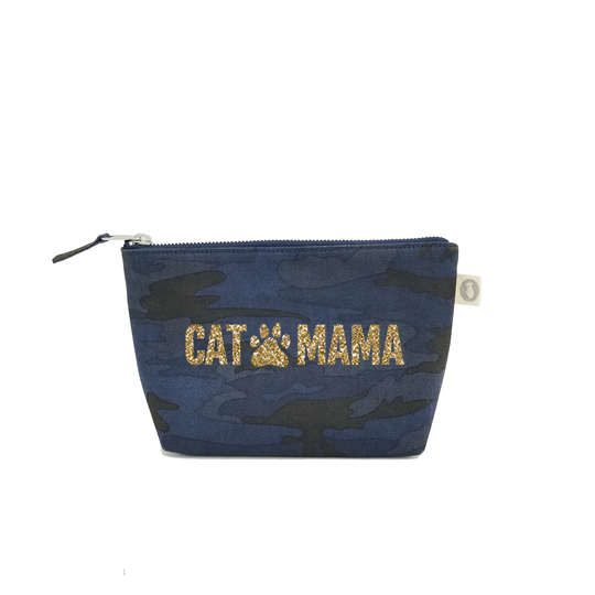Cat Mama:  Dark Blue Camouflage with Gold