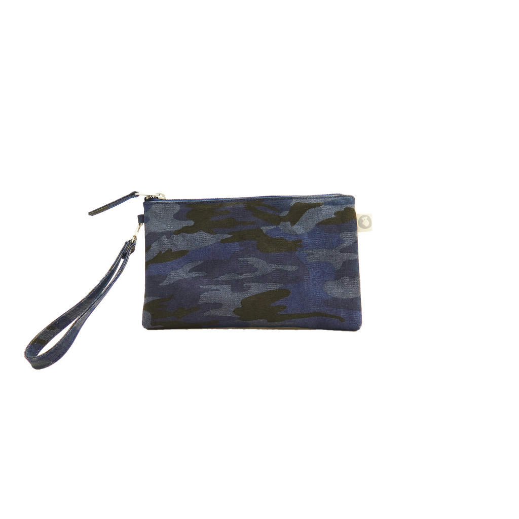 Mini Luxe Clutch with Wristlet: Dark Blue Camouflage