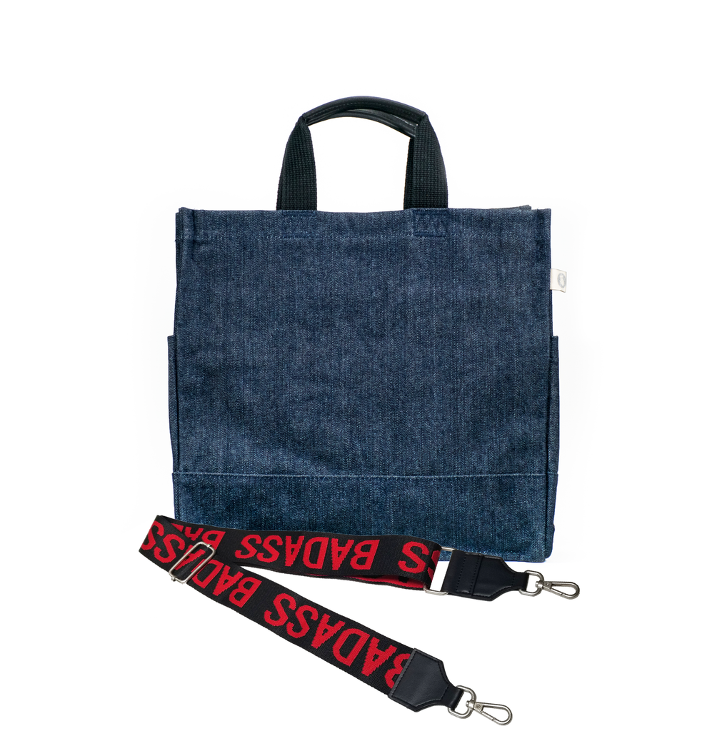 Split Letter Monogram Denim North South Bag with Stripe Strap