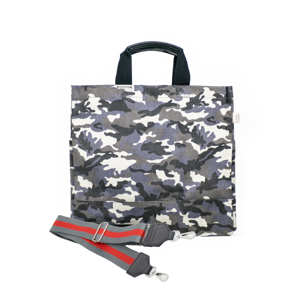 Luxe North-South Bag: Grey Camouflage