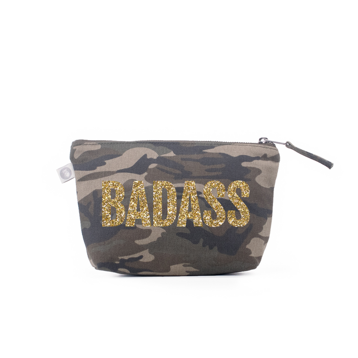 BADASS Collection: Makeup Bag Green Camo with Gold Glitter BADASS