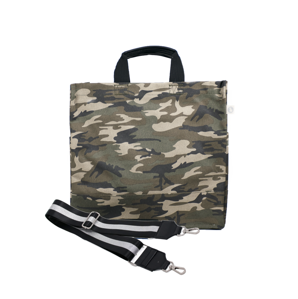 Split Letter Monogram Green Camo North South Bag with Stripe Strap