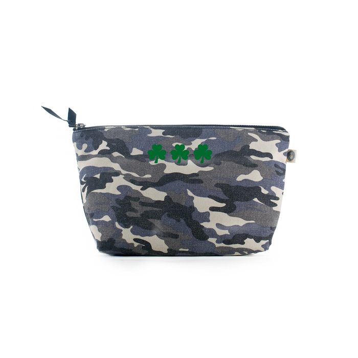 Clutch Bag Grey Camouflage with Green Shamrock - Use code LUCKY to save 20%
