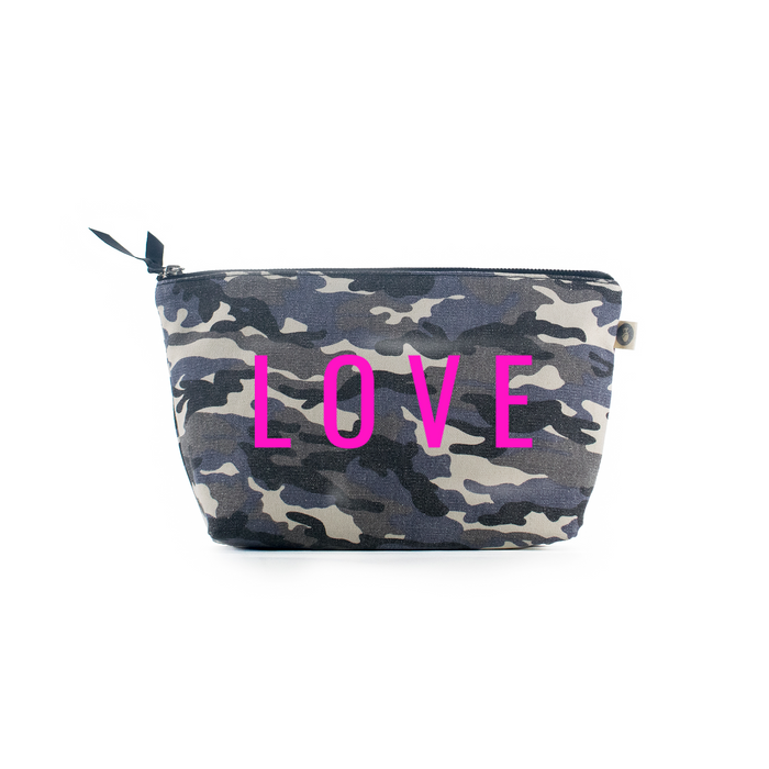 LOVE Collection: Clutch Bag Grey Camouflage with Neon Pink Matte LOVE