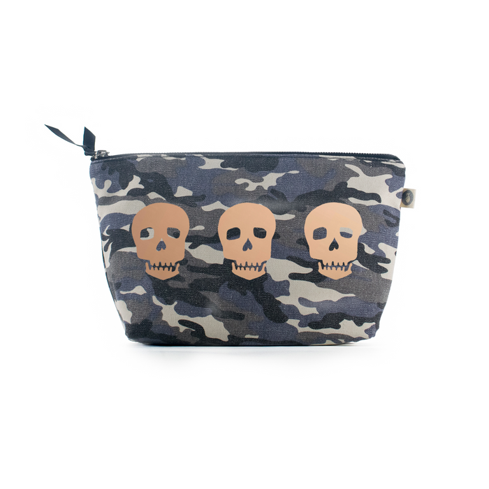 Clutch Bag Grey Camouflage with Rose Gold 3 Skulls
