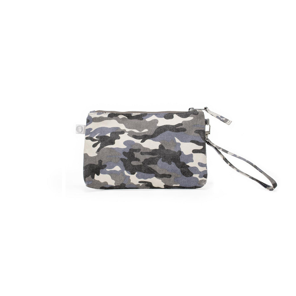 Mini Luxe Clutch with Wristlet: Grey Camouflage