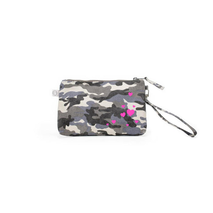 Mini Luxe Clutch with Wristlet: Grey Camouflage Neon Pink Scatter Hearts