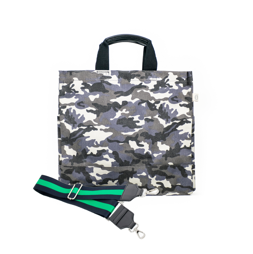 Split Letter Monogram Grey Camo North South Bag with Stripe Strap