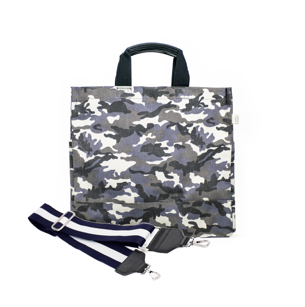 Color Stripes: Grey Camo North South Bag with Stripe Strap