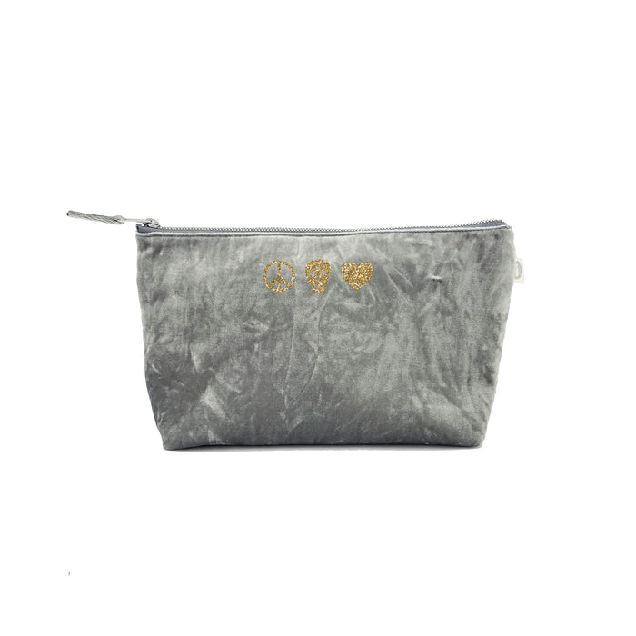 Clutch Bag: Grey Crushed Velvet with Gold Glitter Peace/Skull/Heart
