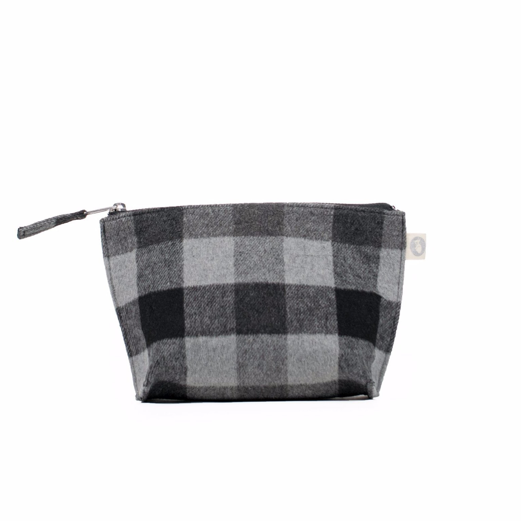 Makeup Bag: Grey Flannel Plaid