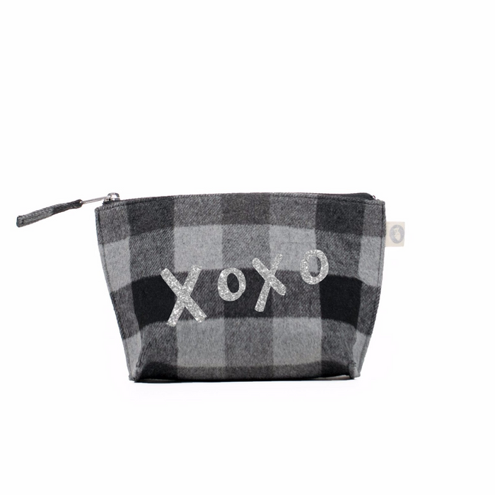 Makeup Bag Grey Flannel Plaid with Silver Glitter XOXO