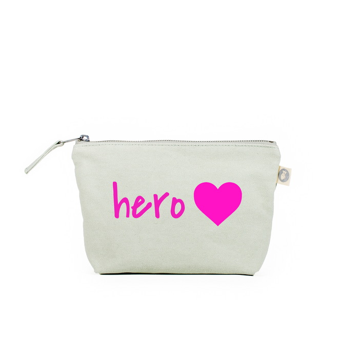 For the Heroes: Seaglass Green Makeup Bag - Pink Matte Hero Heart