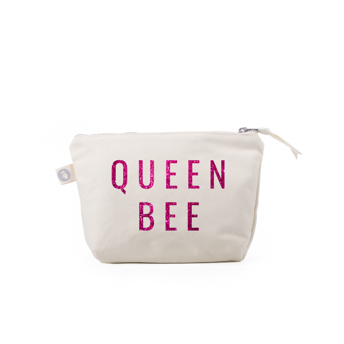 QUEEN BEE: Makeup Bag Natural Kanvas with Pink Glitter