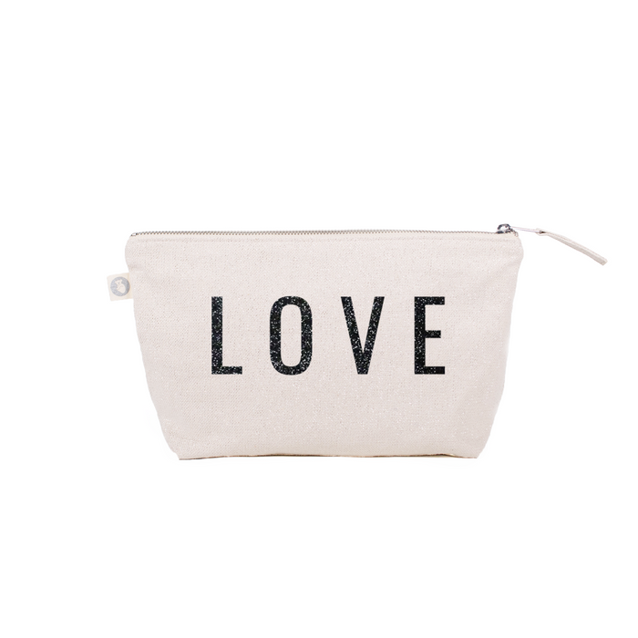 LOVE Clutch Bag Natural Metallic with Black Glitter LOVE