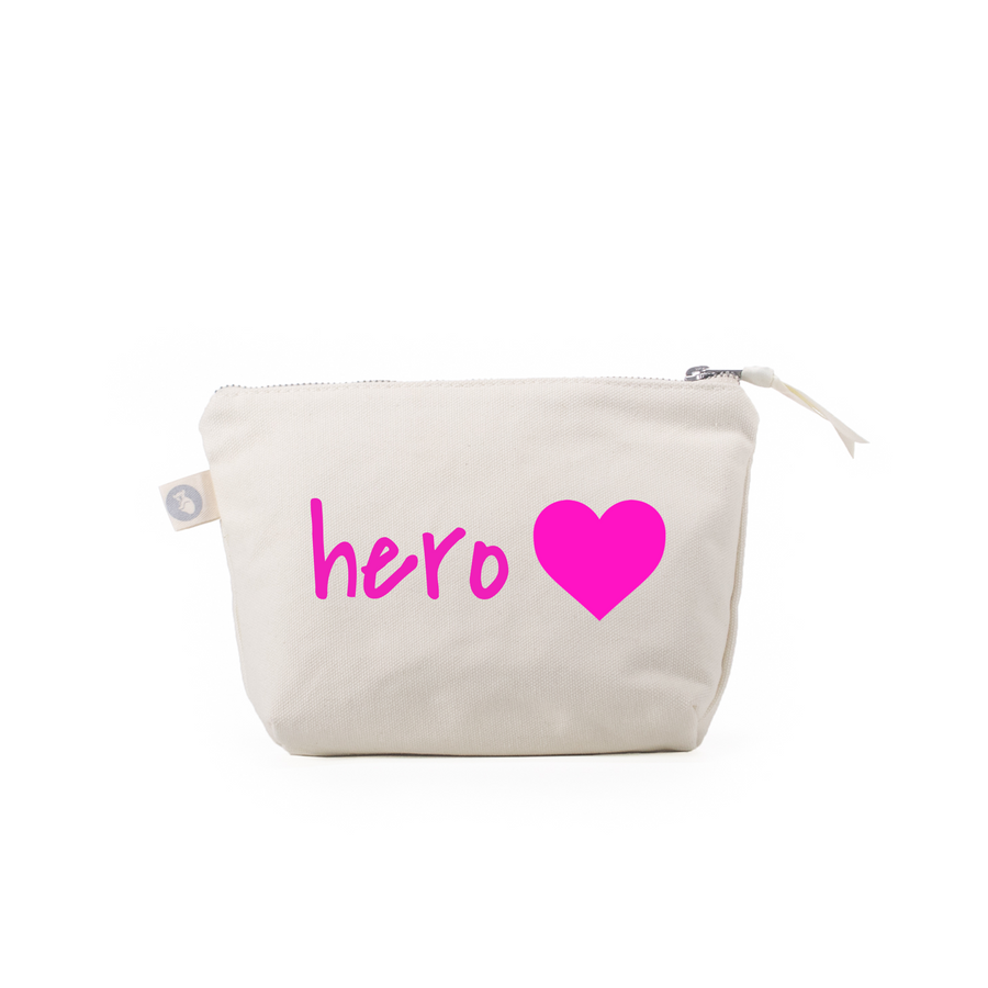 For the Heroes: Natural Makeup Bag - Pink Matte Hero Heart