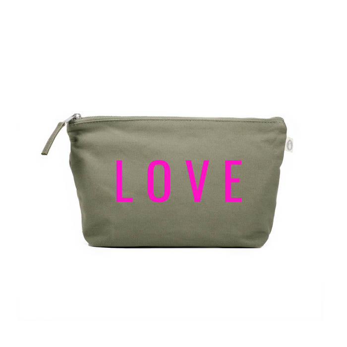 LOVE Collection: Clutch Olive with Neon Pink Matte LOVE