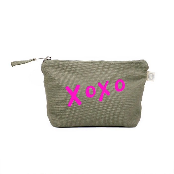 LOVE Collection: Makeup Bag Olive with Neon Pink Matte XOXO