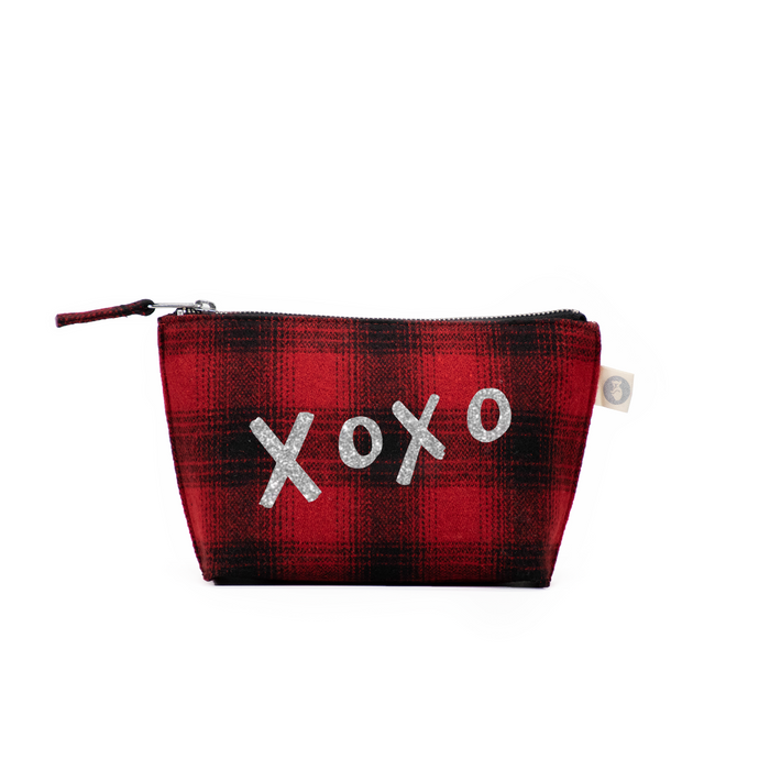 Makeup Bag Red Plaid Flannel with Silver Glitter XOXO