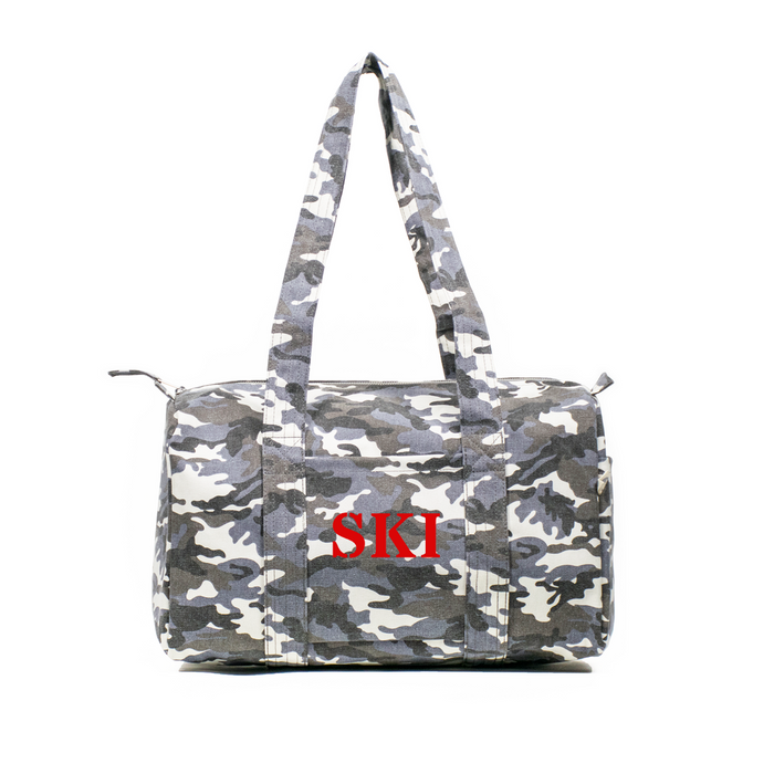 SKI Collection: Small Duffel Grey Camouflage with Red Matte SKI