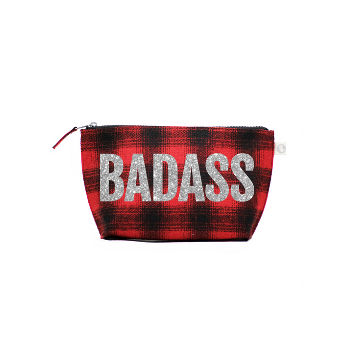 BADASS Collection: Clutch Bag Red Plaid Flannel with Silver BADASS