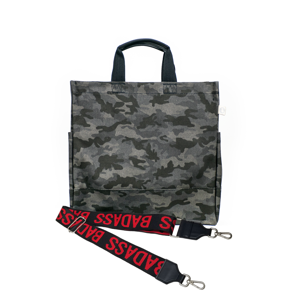 Split Letter Monogram Black Camo North South Bag with Stripe Strap